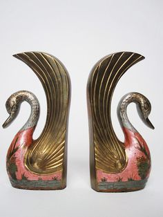 Decorative Painted Brass Swan Bookends by lifeslittlejems on Etsy
