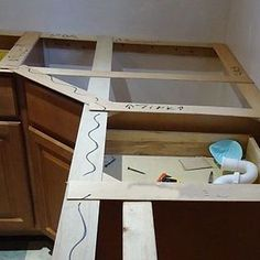 making a template How To Install Countertops, Stone Countertops, Wood Shelves, Shelving, Custom Floating Shelves, Thin Plywood, A Shelf, Custom Cabinets, Wood Projects