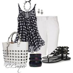 """Black N White Casual but Chic"" by ccroquer on Polyvore"