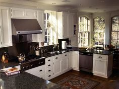 A kitchen idea - love the white shaker style cabinets