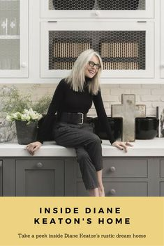 Take a peek inside Diane Keaton's rustic, industrial home. Diane Keaton, Industrial House, Rustic Industrial Kitchens, Vintage Industrial, Industrial Style, Nate And Jeremiah, Modern Outdoor Kitchen, Summer Kitchen, Celebrity Houses