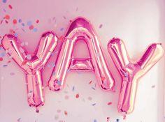 Pink YAY balloons, c