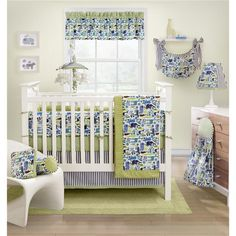 The Joshua baby bedding set features contemporary animal shapes in a wonderful palette of greens and blues. The elephants and giraffes will make your little one's space enchanting with the coordinating green and white dot and blue and white stripe trims and accents.