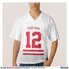 Bright Red Personalized Football Team