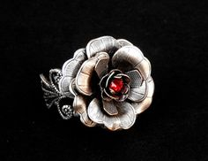 Silver Rose Ring Silver Flower Ring Statement by LeBoudoirNoir