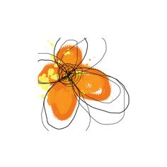 Orange Petals Wall Art Print (£11) ❤ liked on Polyvore featuring home, home decor, wall art, blossom wall art, orange home accessories, flower stem, orange home decor and flower poster