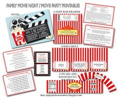 Movie Party printables.                                                                                                                                                                                 More
