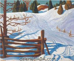Ski Tracks - Holgate, Edwin H. (Canadian, 1892 - Fine Art Reproductions, Oil Painting Reproductions - Art for Sale at Galerie Dada Tom Thomson, Emily Carr, Montreal Museums, Of Montreal, Group Of Seven Artists, Famous Landscape Paintings, Jackson, Oil Painting Reproductions, Winter Art