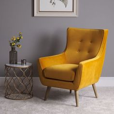 Mustard Living Rooms, Living Room Modern, Living Room Chairs, Living Room Decor, Yellow Armchair, Yellow Sofa, Velvet Armchair, Upholstered Dining Bench, Mustard Chair