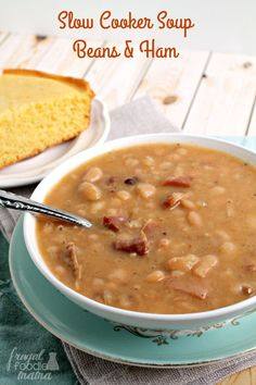 Not only is this Slow Cooker Soup Beans Ham recipe super flavorful simple to make, but it also happens to be budget friendly as well. chicken recipes dinners,cooking and recipes Crock Pot Soup, Slow Cooker Soup, Slow Cooker Recipes, Crockpot Recipes, Cooking Recipes, Crockpot Ham And Beans, Crock Pots, Crockpot Navy Bean Soup, Slow Cooker Corn Chowder