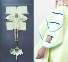 www.veradepont.com A colourful piece of textile that easily transforms into a coat of your choosing. All you need is a pair of scissors. The time consuming sewing process is eliminated with five designs that pop into shape when you put them on – no seams needed. Simply cut out the pattern of your favorite design and your coat is ready to wear. The use of melting yarn prevents the fabric from fraying. There's a silkscreened and a woven version, the latter even has double-sided patterns.