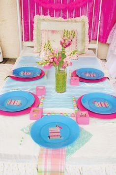 Princess and the pea shower, with 'bed' table and pea centerpieces