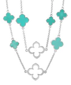 Look at this Turquoise & Silvertone Clover Necklace on #zulily today!