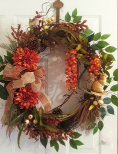 Large Fall Grapevine Wreath with a Cute by TheChicyShackWreaths, $145.00