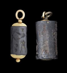 Two Mesopotamian stone cylinder seals pendants, Late Akkadian - Old Babylonian, circa 2100-1600 B.C.