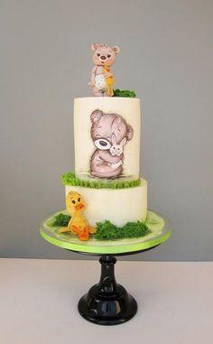 Christening cake by daruj tortu Buttercream Cake, Fondant Cakes, Cupcake Cakes, Beautiful Cakes, Amazing Cakes, Cupcake Decorating Techniques, Christening Cake Boy, Confirmation Cakes, Teddy Bear Cakes