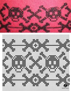 Skull and cross bones Mochila bag pattern Knitting Charts, Knitting Socks, Knitting Patterns, Crochet Chart, Crochet Stitches, Knit Crochet, Cross Stitch Skull, Crochet Skull Patterns, Fair Isle Chart