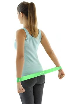 Using the Resistance Loop Bands can help stretch the upper back, spine, and shoulders; opens the chest; helps release chronic tension in the shoulders and neck for many Yoga Positions, such as the Extended Puppy Pose www.starwoodsport...