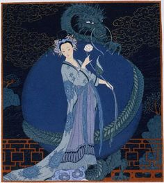 Georges Barbier, Lady With a Dragon, ca. 1920s