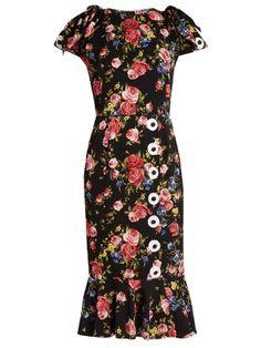 Rose-print silk-charmeuse dress | Dolce