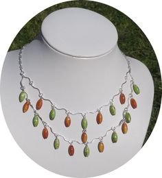 Fashion Green Orange Tears Jewelry Set by MilibeDesigns on Etsy