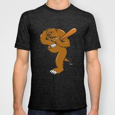Grizzly Bear Baseball Player Batting Cartoon T-shirt