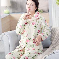 Autumn Winter Long Sleeved Women Flannel Thick Pajamas Coral Fleece Suits Pajama Sets Lovely Pyjamas Women Homewear Plus Size Sleepwear Women, Pajamas Women, Long Sleeve Pyjamas, Fleece Pajamas, Plus Size Women, Pajama Set, Flannel, High Neck Dress, Coral