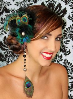 Schillernder Pfau Blue Feather Fascinator