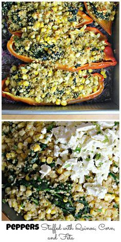 peppers stuffed with quinoa, corn and feta cheese