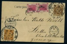 Frankings: legitimate used postcard (illustration. Chinese weddig procession - Shanghai 18. 8. 1898), franked by two Two cent postal stamp (Hong Kong) with postmark Shanghai 22. 8. 98, furthermore 1C. + 4C. China franking, these with large postmark Shanghai 26. 8. 898 cancelled, furthermore on route passing cancellation Hong Kong 26. 8. 98, addressed to Stettin with arrival postmark 26. 9. 98. in this kind extremely scarce combination!