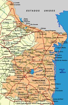 Tamaulipas is a state in the NE corner of Mexico. The capital is Ciudad Victoria and it is approx. the size of South Carolina. Texas in the United States is to the N and NE, the Gulf of Mexico to E, Veracruz to S, San Luis Potosi to S and SW, and Nuevo Leon to W. Gulf Of Mexico, Mexico City, Rio Grande, Bagdad, States And Capitals, Family Roots, Continents, Travel Tips, United States