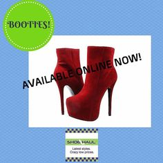 Suede look and feel bootie with 3 inch hidden platform and 6 inch heel. Available online now! #booties #platforms #shoehaulstore #myshoehaul #shoehaulonline #fashion #WPB #shoponline #autumnboots