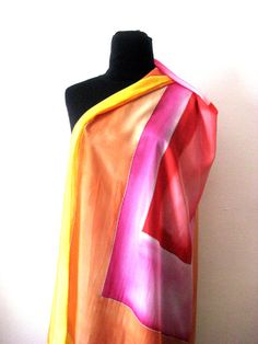 Silk Scarf Red Yellow Geometric by InSetArte on Etsy