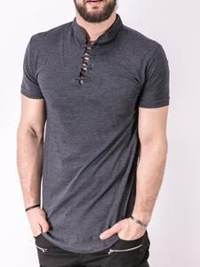 K&B Men Lace Mock Neck T-shirt - Heather Gray