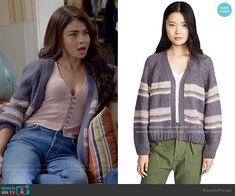 Haley's pink button front top and purple striped cardigan on Modern Family Modern Family Sarah Hyland, Modern Family Haley, Fashion Tv, Teen Fashion Outfits, Modern Family Season 1, Cute Summer Outfits, Cool Outfits, Tv Show Outfits, Inspirational Celebrities