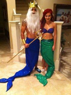 Hallowen Costume Couples Little mermaid Halloween Mermaid Halloween Costumes, Little Mermaid Costumes, Ariel Costumes, Hallowen Costume, Family Halloween Costumes, Diy Costumes, Halloween Diy, Costumes For Women, The Little Mermaid