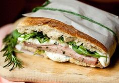 Grilled Ham Sandwich with Mozzarella Arugula