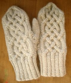 Hand knitt celtic cable mittens in beige yarn by ingrascrafts, $23.00