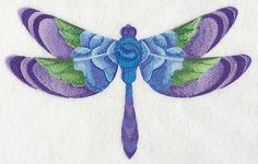 Blue Rose Dragonfly in Watercolor