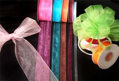 """Organza ribbon, 25 yard spool, 1/4"""" wide. Sheer organza so delicate. Lots of colors to choose from. - Sold by the spool- by CelebrationMarket on Etsy"""
