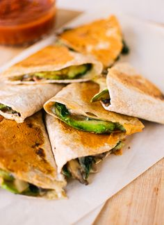 Crispy mushroom, spinach and avocado quesadillas - recipe at cookieandkate.com