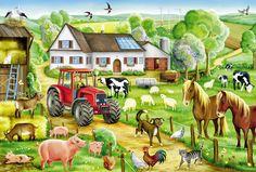 Катюша-колобуша: Вимельбухи о животных: ферма, лес, африка, конюшня, зоопарк, морские обитатели. See Think Wonder, Puzzles, Farm Paintings, Cartoon House, Farm Pictures, Picture Composition, The Barnyard, Illustration Story, Coloring Book Art