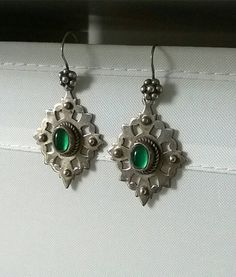Vintage sterling silver green agate by CaronPowerJewellery on Etsy