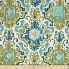 "Like this color combo...Custom Designer Draperies: Torol Damask Ikat in Capri Blue Green 108""L x 50""W"