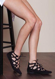 Black Laced Up Ballerina Flats - Loveculture.com