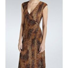 New With Tags, Ralph Lauren pricey wrap dress, sz XS, Brown toned python snakeskin, sexy fit wrap dress!  Great gift!  WILL SHIP RIGHT AWAY
