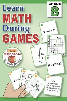 Grade 8 Math Games BUNDLE: Play Four Different Games with 13 Sets of 40 Cards. #grade8math #mathgames #middleschoolmath #scientificnotation #anglegame #pythagoreantheorem #distance #prealgebragames #k8mathsense