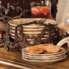 GG Collection Brown Metal Square Dinner Plate Holder