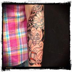 Done on Saturday 31/03/2012 @ The Helsink Ink (Finland) (Tattoo Still In Progress...)  #cat #lotus #flower #sakura #flowers #psychedelic #oriental #tattoo #colortattoo #convention #helsinki #finland #2012