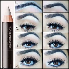 Beauty Tricks: White Eyeliner adds extra brightness to your eyes & really helps you to look more awake (especially after an all-nighter!) baby blue eyeliner makes the whites of your eyes whiter! White Eyeliner Tricks, Eyeliner Hacks, Eye Liner Tricks, Blue Eyeliner, All Things Beauty, Beauty Make Up, Beauty Secrets, Beauty Hacks, Beauty Products